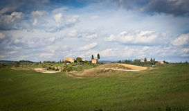 Tuscany. Landscape with fields and farm in background.Chianti region,Italy Stock Photos