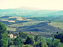 Tuscany landscape. Fields, meadows and hills landscape in tuscany, italy royalty free stock photos