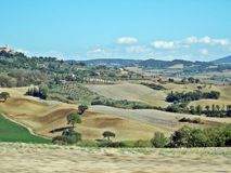 Tuscany landscape. Fields, meadows and hills landscape in tuscany, italy Royalty Free Stock Images