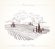 Tuscany Landscape hand drawn illustration Stock Photography