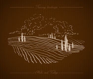 Tuscany Landscape hand drawn illustration Royalty Free Stock Photo