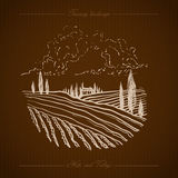 Tuscany Landscape hand drawn illustration Royalty Free Stock Images