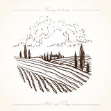 Tuscany Landscape hand drawn illustration. Tuscany landscape with fields, hills. Hand drawn vineyard or olives gardens rural landscape. Travel sketch old farm Royalty Free Stock Photography
