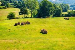 Tuscany landscape with haystacks Stock Photo