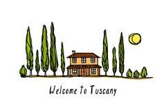 Tuscany landscape illustration Royalty Free Stock Photography