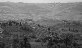 Tuscany Landscape. Italy Black und White Royalty Free Stock Image