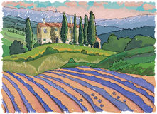 Tuscany landscape, Italy. Tuscany landscape, hills, house and cypress, hand drawn - vector Illustration Stock Photography
