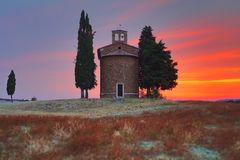 Tuscany landscape with the little Chapel of Madonna di Vitaleta, San Quirico d`Orcia, Val D`Orcia, Tuscany, Italy royalty free stock photos