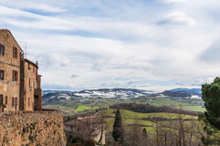 Tuscany. Landscape in little town during winter Stock Image
