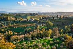 Tuscany landscape near San Gimignano Stock Photo
