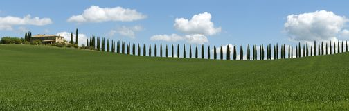 Tuscany panorama with farmhouse and cypresses Royalty Free Stock Photo