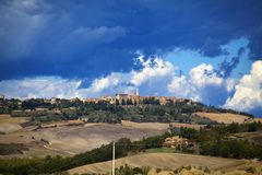 Tuscany - Landscape panorama, hills and meadow Royalty Free Stock Image