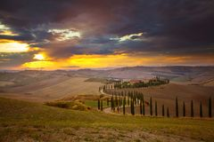 Tuscany - Landscape panorama, hills and meadow, Toscana - Italy. Classic view of scenic Tuscany landscape with idyllic rolling hills and valleys in beautiful Royalty Free Stock Photo