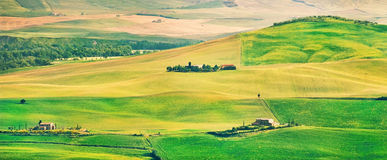 Tuscany landscape panorama at sunset, Val d Orcia, Italy Royalty Free Stock Photo