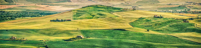 Tuscany landscape panorama at sunset, Val d'Orcia, Italy Royalty Free Stock Photo
