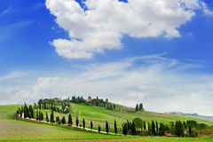 Tuscany landscape panoramic view with hills and cypresses, toscana, italy Stock Images