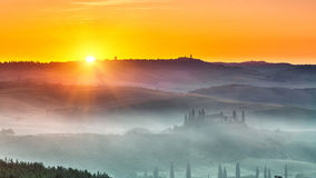 Tuscany landscape at sunrise. Beautiful Tuscany landscape at sunrise, Italy royalty free stock photo