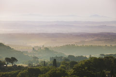 Tuscany Landscape at sunrise Stock Image