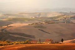 Tuscany landscape at sunrise. Tuscan farm house, vineyard, hills. Royalty Free Stock Photo