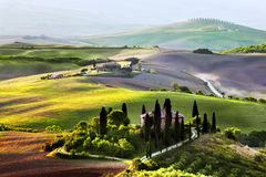 Tuscany landscape at sunrise. Tuscan farm house, vineyard, hills. Stock Images