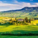 Tuscany landscape at sunset Royalty Free Stock Photo