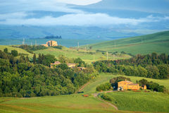 Tuscany landscape  at sunset near Pienza, Vall d'Orcia Italy Royalty Free Stock Images