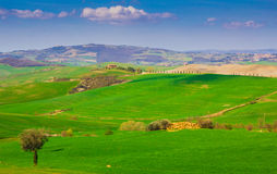 Tuscany landscape with typical farm house Royalty Free Stock Photography