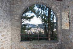 Tuscany landscape, view from an arch, Fiesole, Italy royalty free stock image