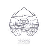 Tuscany landscape with vineyard fields, villa, mountains. In grapes leaf shape. Outline vector illustration of rural landscape. Trendy concept for wine list Royalty Free Stock Images