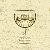 Tuscany landscape with vineyard fields, villa, trees in wine glass shape. Stock Photo