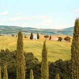 Tuscany landscape, Vitaleta chapel, little church in Val d Orcia Royalty Free Stock Photo