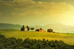 Tuscany landscape, Vitaleta chapel, little church in Val d Orcia Royalty Free Stock Image