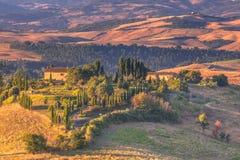 Tuscany landskap i morgonen Arkivfoto