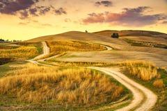 Tuscany landskap, lantlig väg och grönt fält Volterra Italien arkivbild