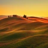 Tuscany lantligt landskap för solnedgång Rolling Hills bygd lantgård arkivbild