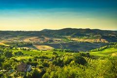 Tuscany lato, Montepulciano wsi panorama Siena włochy obrazy royalty free