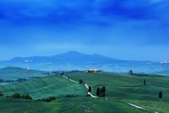 Tuscany liggande på soluppgången Typisk för det tuscan lantbrukarhemmet för region, kullar, vingård Italien nytt grönt tuscany la arkivfoton