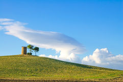 Tuscany, Maremma landscape. Rural tower, green field and trees. Stock Image