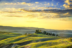 Tuscany Maremma sunset. Trees, farmlands, hills and fields. Volt Royalty Free Stock Photos