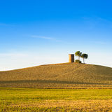 Tuscany, Maremma sunset landscape. Rural tower and tree on hill. Stock Photography