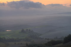 Tuscany in mist before sunrise Royalty Free Stock Image