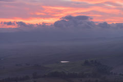 Tuscany in mist before sunrise Royalty Free Stock Images