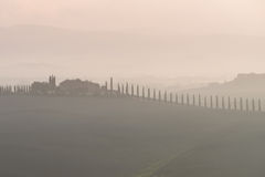 Tuscany in mist before sunrise Stock Photography