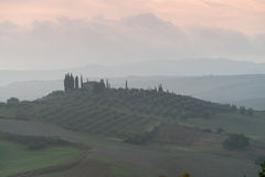 Tuscany in mist before sunrise Royalty Free Stock Photography