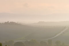 Tuscany in mist before sunrise Stock Images