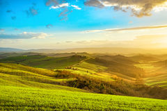 Tuscany misty panorama at sunset, rolling hills, fields, meadow. Royalty Free Stock Photos