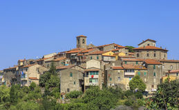 Tuscany mountain-side village. Gavorrano is a mountain-side village, originally a mineworkers village, in the Province of Grosseto in the western Italian region Royalty Free Stock Photos