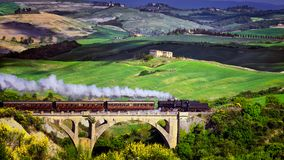 Tuscany nature steam train in spring time at wine festival stock image