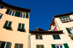 Tuscany. Old tenements in Lucca Stock Photos