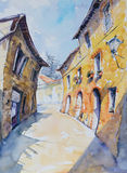 Tuscany. Original watercolor painting of Italian street in Tuscan village San Gusme,Italy Stock Photography
